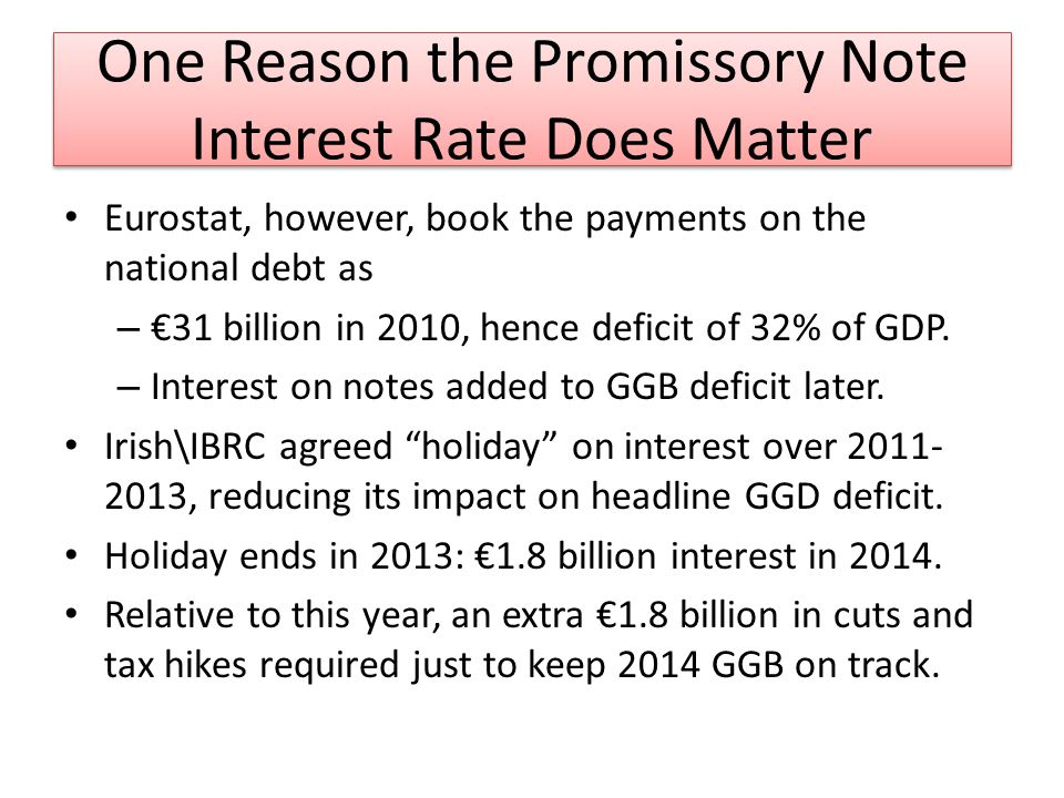 One Reason the Promissory Note Interest Rate Does Matter Eurostat, however, book the payments on the national debt as – 31 billion in 2010, hence deficit of 32% of GDP.