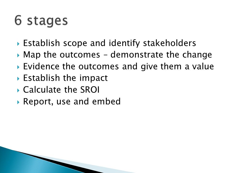 Establish scope and identify stakeholders Map the outcomes – demonstrate the change Evidence the outcomes and give them a value Establish the impact Calculate the SROI Report, use and embed