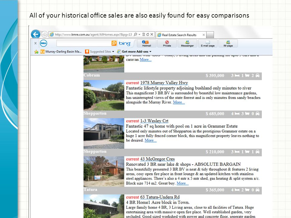 All of your historical office sales are also easily found for easy comparisons