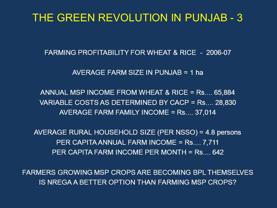 THE GREEN REVOLUTION IN PUNJAB - 3 FARMING PROFITABILITY FOR WHEAT & RICE - 2006-07 AVERAGE FARM SIZE IN PUNJAB = 1 ha ANNUAL MSP INCOME FROM WHEAT & RICE = Rs....