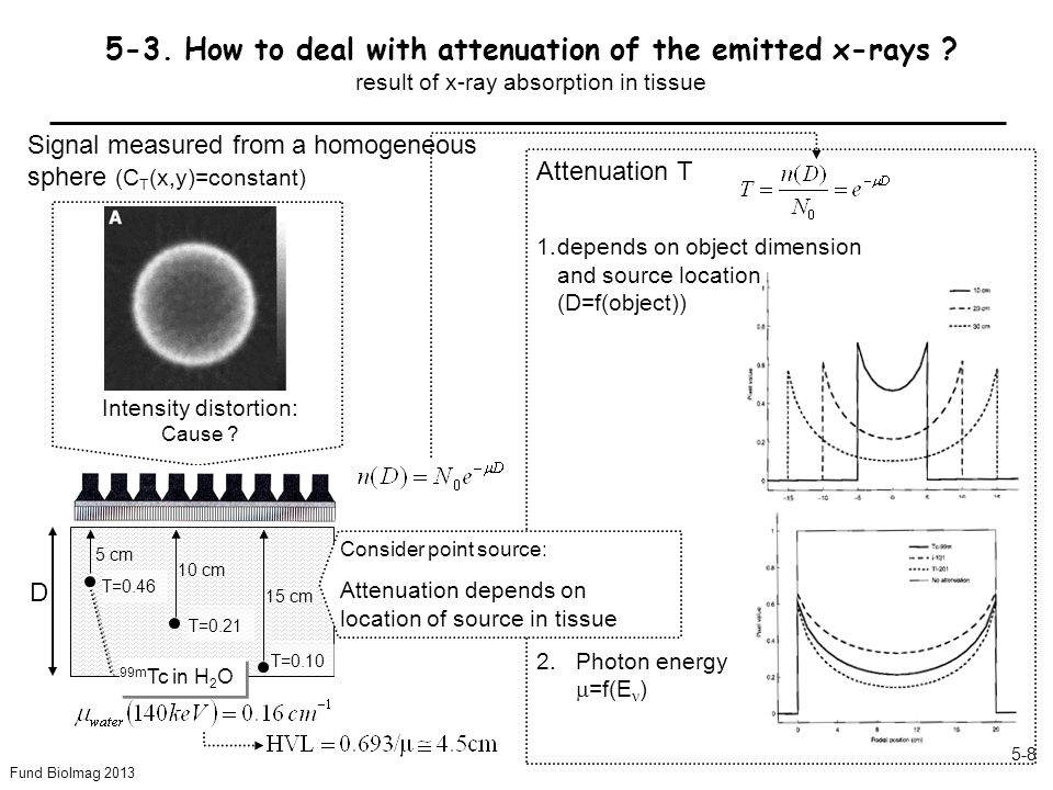 Fund BioImag 2013 5-8 5-3. How to deal with attenuation of the emitted x-rays .