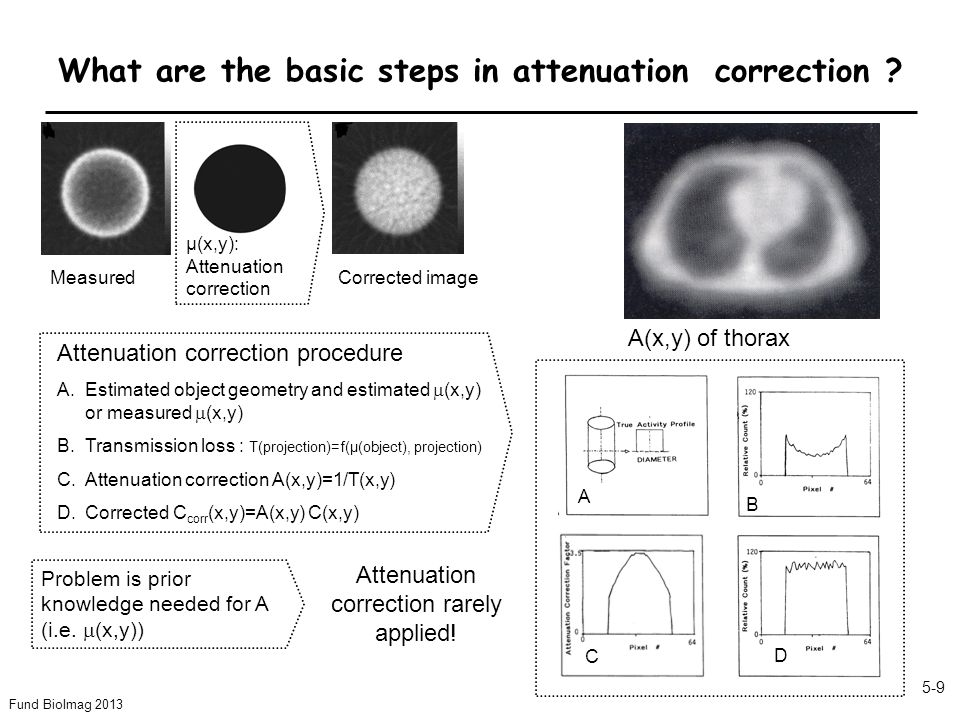 Fund BioImag 2013 5-9 What are the basic steps in attenuation correction .