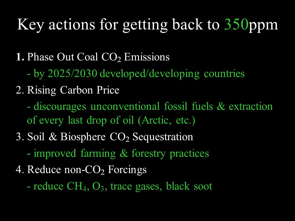 Key actions for getting back to 350ppm 1.
