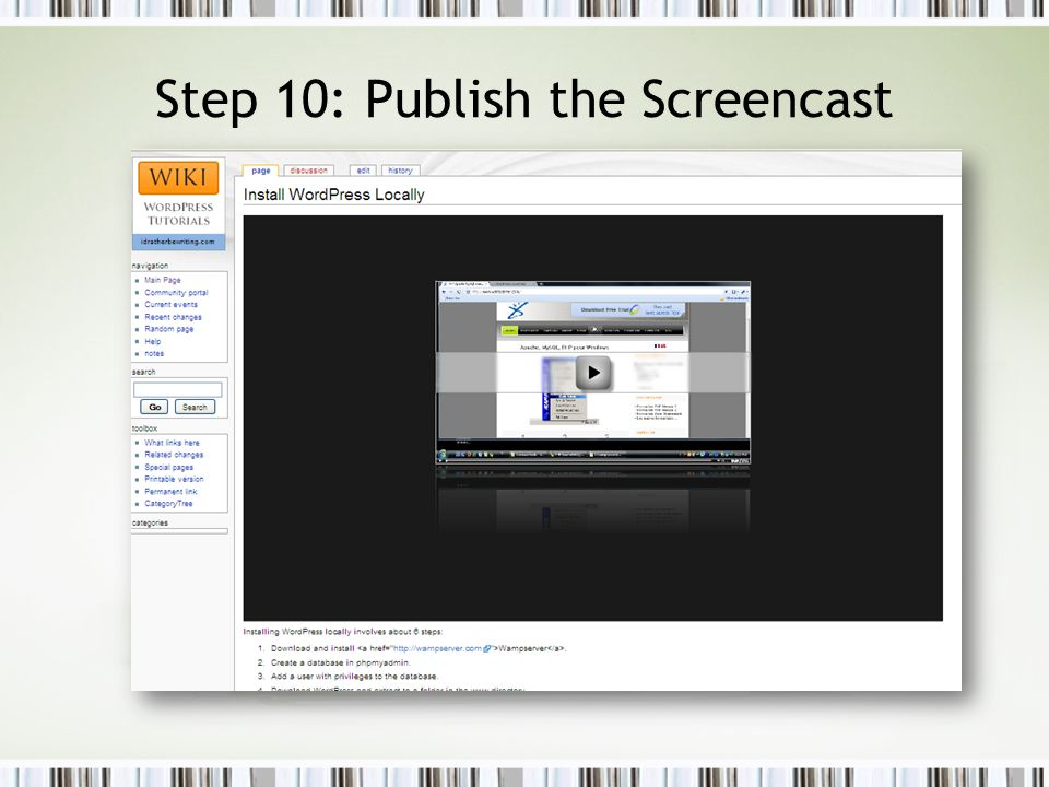 Step 10: Publish the Screencast