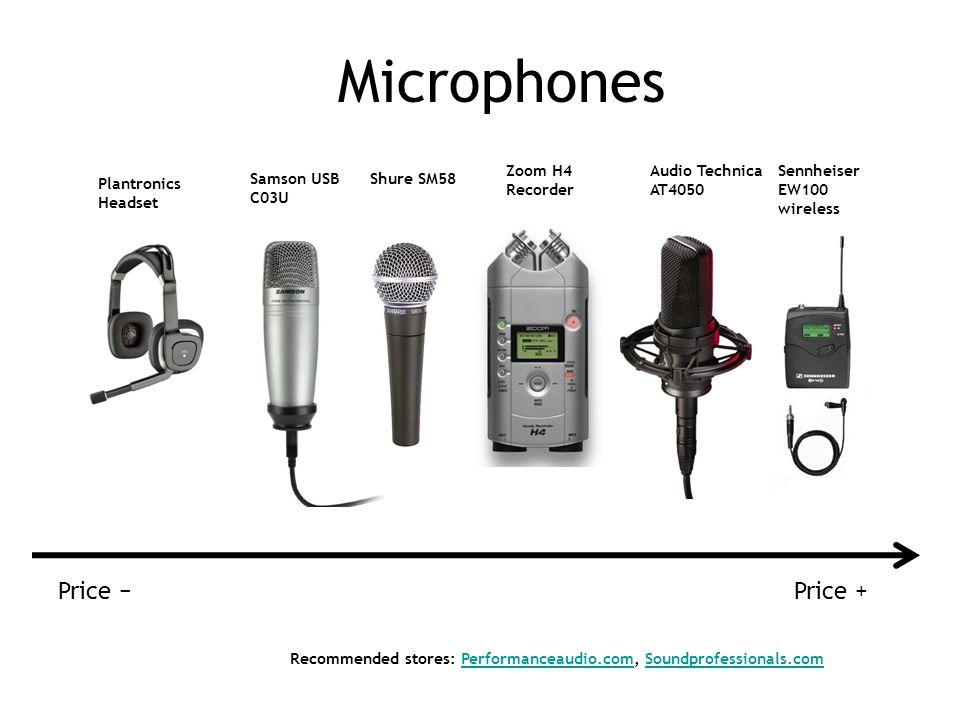 Shure SM58 Zoom H4 Recorder Sennheiser EW100 wireless Audio Technica AT4050 Samson USB C03U Recommended stores: Performanceaudio.com, Soundprofessionals.comPerformanceaudio.comSoundprofessionals.com Price +Price Plantronics Headset Microphones