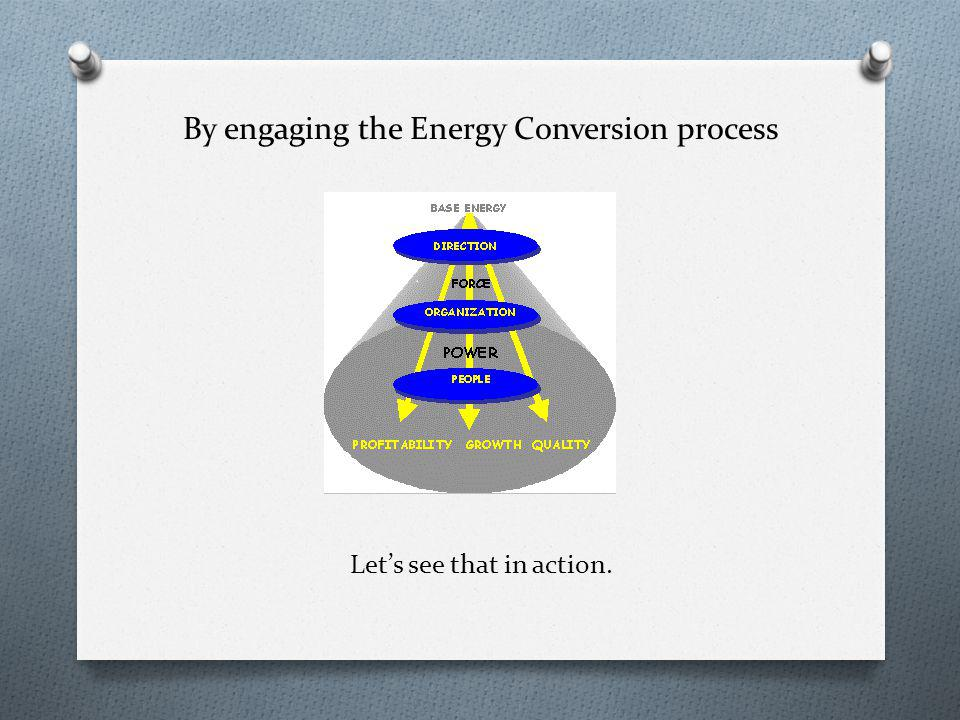 By engaging the Energy Conversion process Lets see that in action.