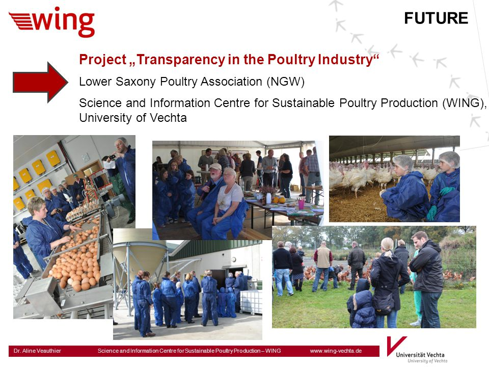 Dr. Aline Veauthier Science and Information Centre for Sustainable Poultry Production – WING www.wing-vechta.de Project Transparency in the Poultry In