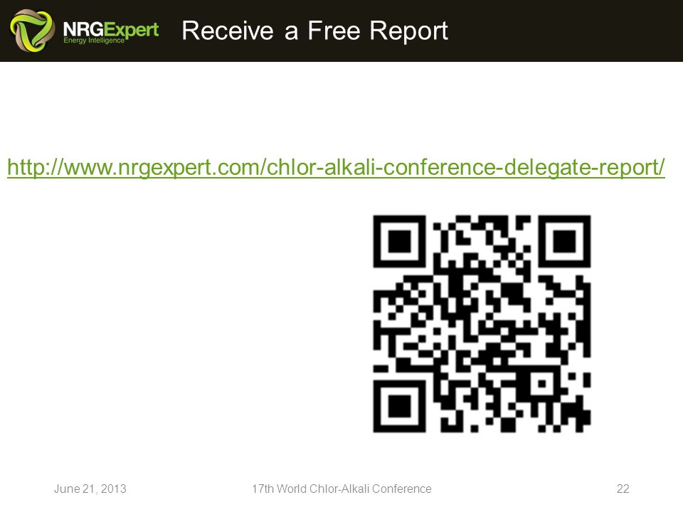 Receive a Free Report June 21, th World Chlor-Alkali Conference22