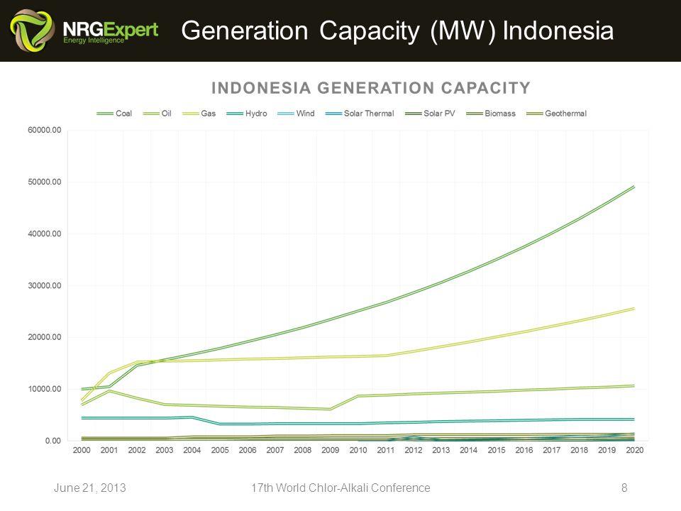 Generation Capacity (MW) Japan June 21, 201317th World Chlor-Alkali Conference9