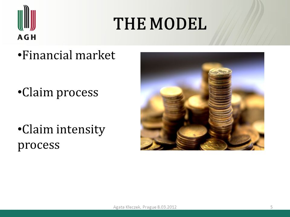 THE MODEL Financial market Claim process Claim intensity process Agata Kłeczek, Prague 8.03.20125
