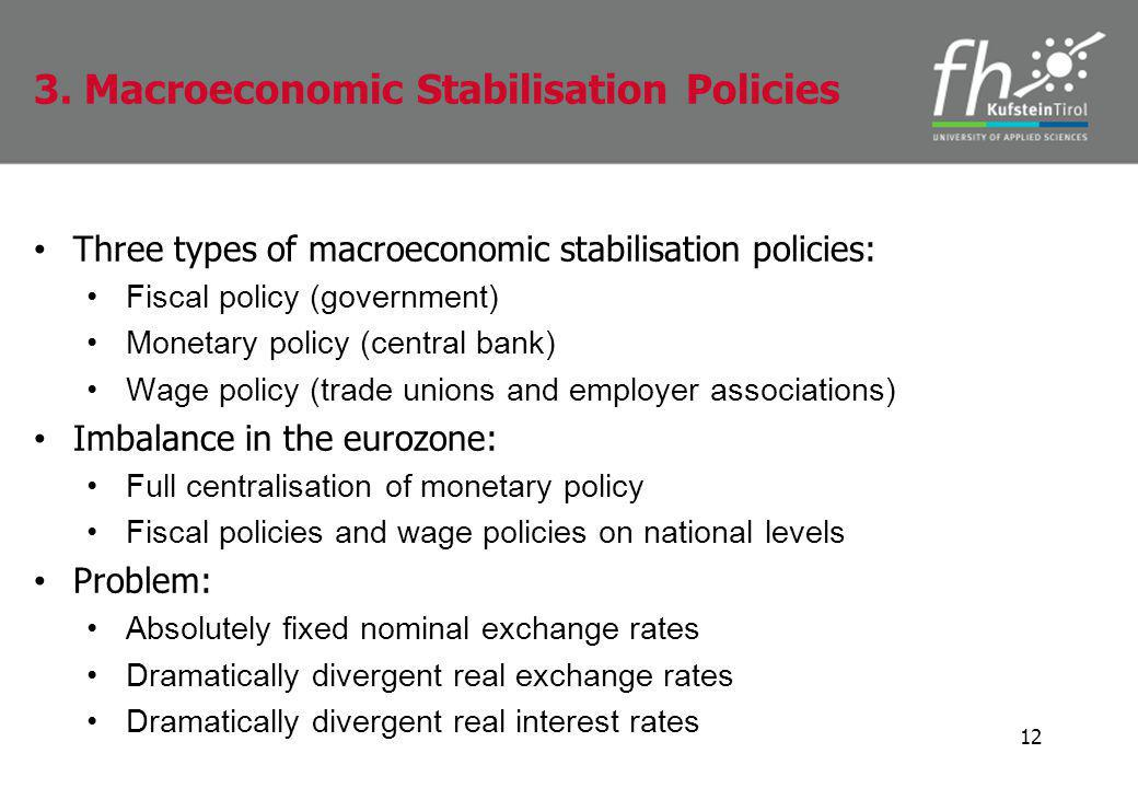 Three types of macroeconomic stabilisation policies: Fiscal policy (government) Monetary policy (central bank) Wage policy (trade unions and employer associations) Imbalance in the eurozone: Full centralisation of monetary policy Fiscal policies and wage policies on national levels Problem: Absolutely fixed nominal exchange rates Dramatically divergent real exchange rates Dramatically divergent real interest rates 12 3.