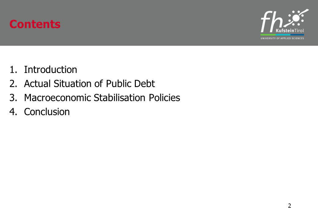 1.Introduction 2.Actual Situation of Public Debt 3.Macroeconomic Stabilisation Policies 4.Conclusion 2 Contents