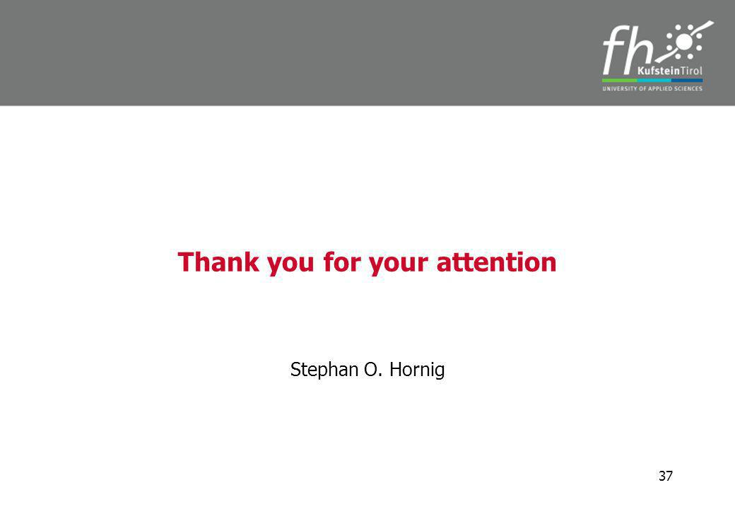 Thank you for your attention Stephan O. Hornig 37