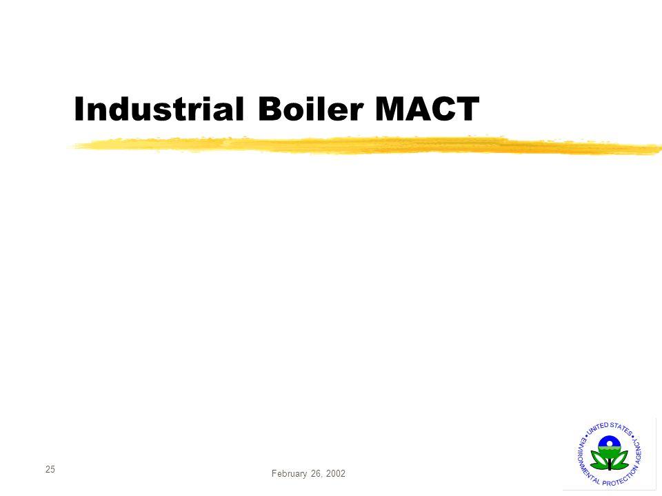 February 26, 2002 25 Industrial Boiler MACT