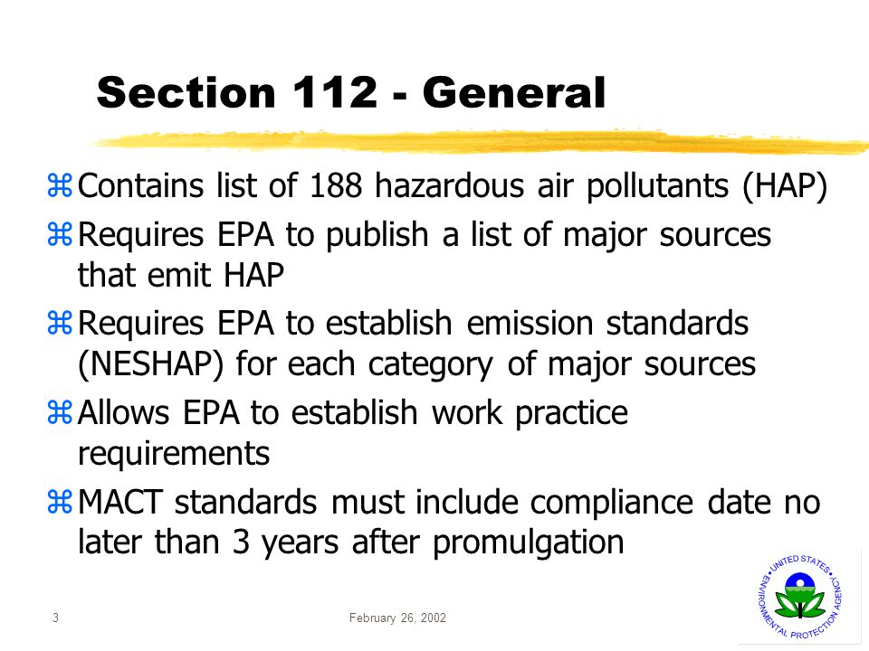 February 26, 200214 Background -- Determination zEPA announced finding on 12/14/2000 yRegulation necessary for oil- and coal-fired boilers yRegulation not necessary for gas-fired boilers yBased on xPublic health concerns xMercury emissions from power plants xInformation that mercury from power plants can be controlled