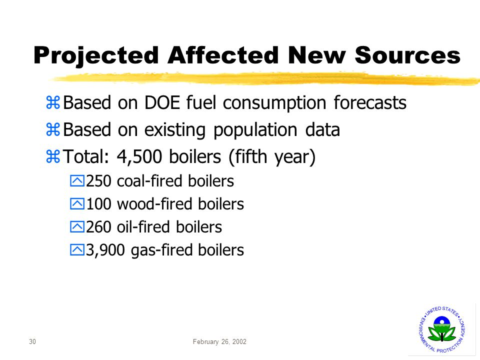 February 26, 200230 Projected Affected New Sources zBased on DOE fuel consumption forecasts zBased on existing population data zTotal: 4,500 boilers (fifth year) y250 coal-fired boilers y100 wood-fired boilers y260 oil-fired boilers y3,900 gas-fired boilers