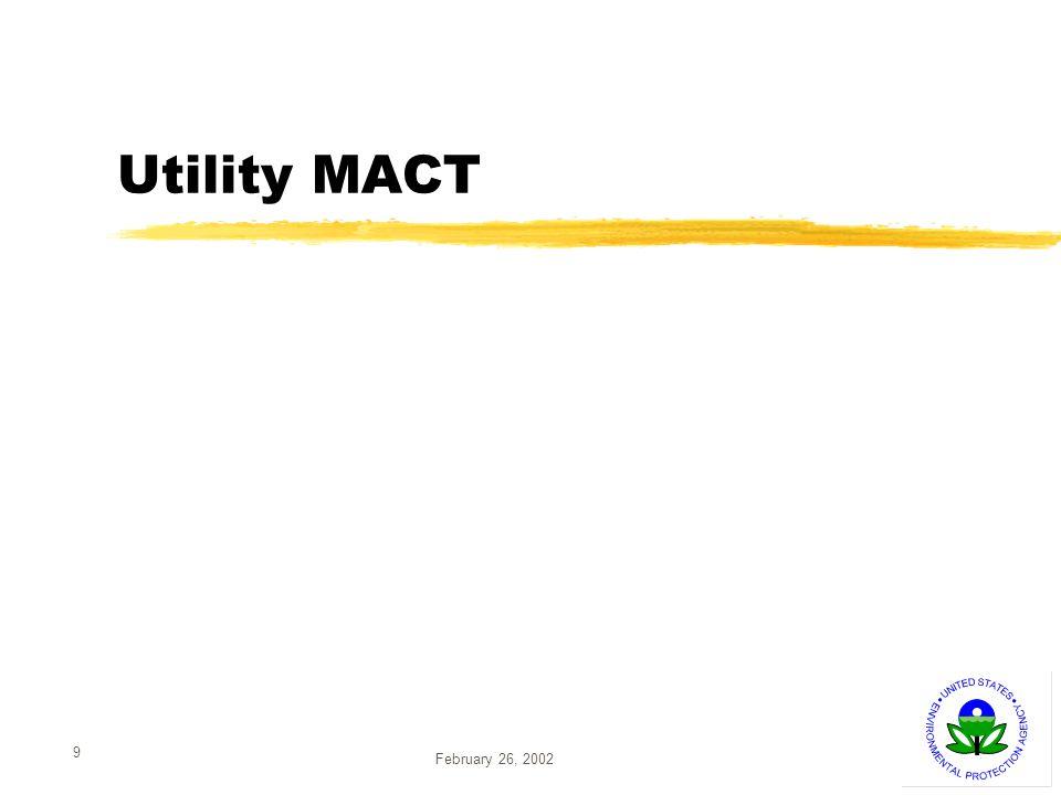 February 26, 2002 9 Utility MACT