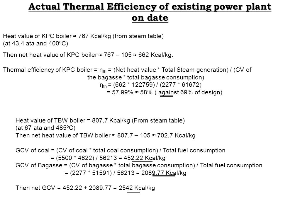 Actual Thermal Efficiency of existing power plant on date Heat value of KPC boiler 767 Kcal/kg (from steam table) (at 43.4 ata and 400ºC) Then net hea