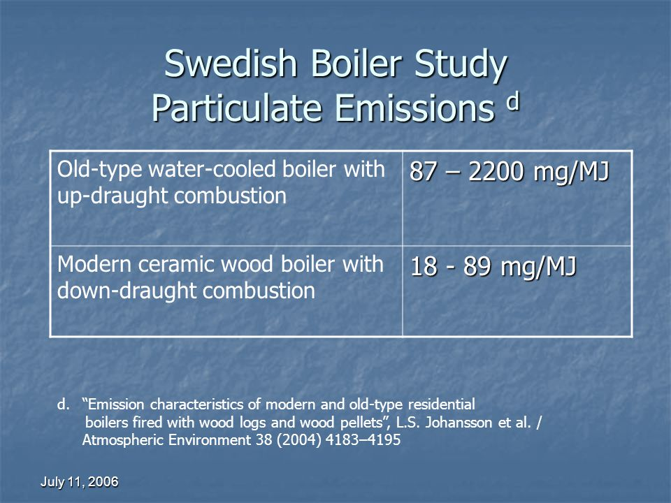 July 11, 2006 Swedish Boiler Study Particulate Emissions d Old-type water-cooled boiler with up-draught combustion 87 – 2200 mg/MJ Modern ceramic wood