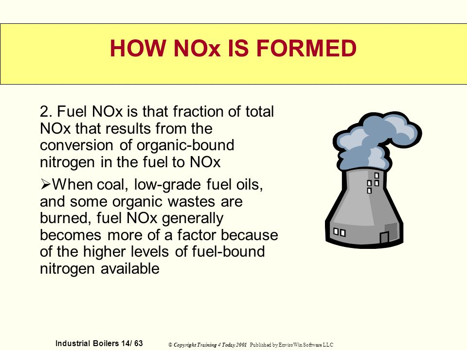 Industrial Boilers 14/ 63 © Copyright Training 4 Today 2001 Published by EnviroWin Software LLC HOW NOx IS FORMED 2. Fuel NOx is that fraction of tota