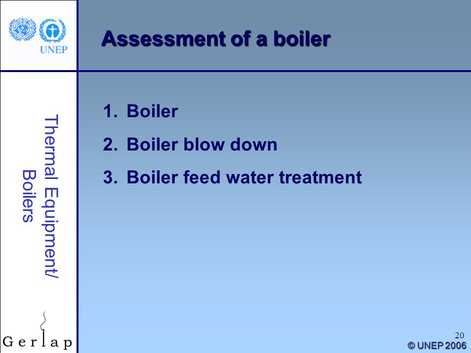 20 Thermal Equipment/ Boilers 1.Boiler 2.Boiler blow down 3.Boiler feed water treatment © UNEP 2006 Assessment of a boiler