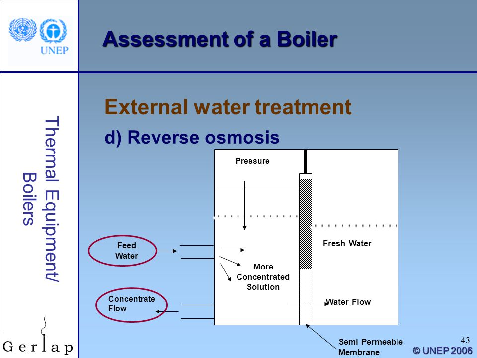 43 Thermal Equipment/ Boilers © UNEP 2006 Assessment of a Boiler d) Reverse osmosis External water treatment More Concentrated Solution Fresh Water Wa