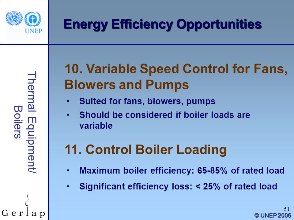51 Thermal Equipment/ Boilers © UNEP 2006 Energy Efficiency Opportunities 11. Control Boiler Loading 10. Variable Speed Control for Fans, Blowers and