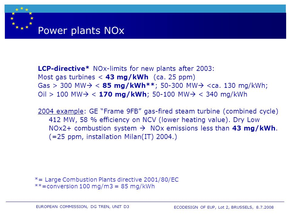 EUROPEAN COMMISSION, DG TREN, UNIT D3 ECODESIGN OF EUP, Lot 2, BRUSSELS, 8.7.2008 Power plants NOx LCP-directive* NOx-limits for new plants after 2003: Most gas turbines < 43 mg/kWh (ca.