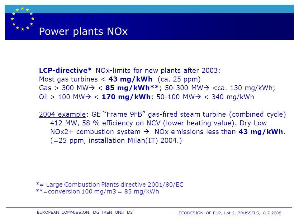 EUROPEAN COMMISSION, DG TREN, UNIT D3 ECODESIGN OF EUP, Lot 2, BRUSSELS, 8.7.2008 Power plants NOx LCP-directive* NOx-limits for new plants after 2003