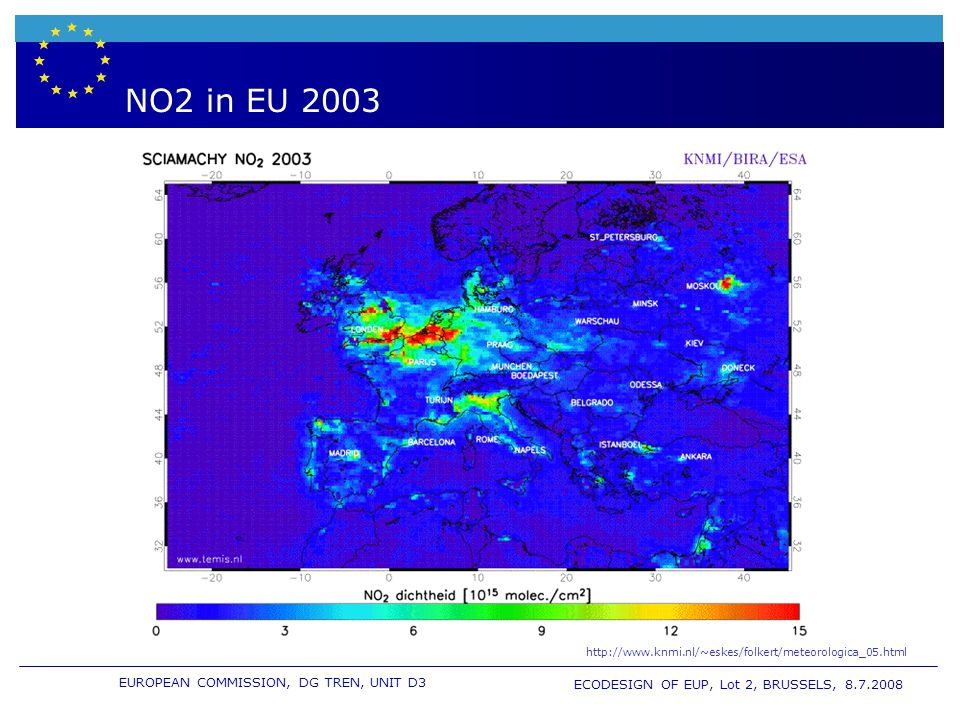 EUROPEAN COMMISSION, DG TREN, UNIT D3 ECODESIGN OF EUP, Lot 2, BRUSSELS, 8.7.2008 NO2 in EU 2003 http://www.knmi.nl/~eskes/folkert/meteorologica_05.html