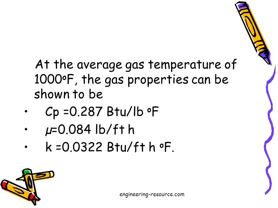 At the average gas temperature of 1000 o F, the gas properties can be shown to be Cp =0.287 Btu/lb o F µ=0.084 lb/ft h k =0.0322 Btu/ft h o F.