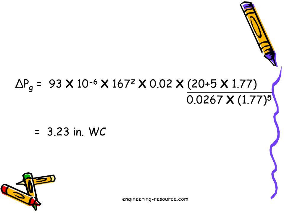 P g = 93 X 10 -6 X 167 2 X 0.02 X (20+5 X 1.77) 0.0267 X (1.77) 5 = 3.23 in.
