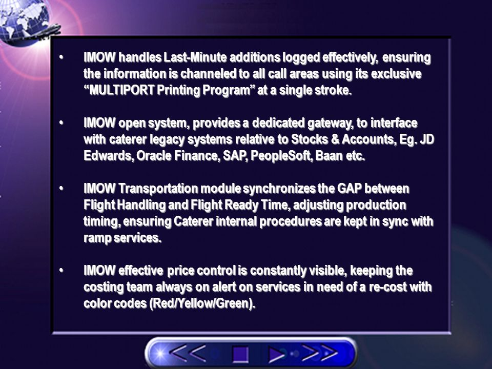 IMOW simplifies the caterer-client quoting process, incorporating Material Cost and Systemic Labour Time/Sales service integrated with every menu personalized at customer level with currency requirements.