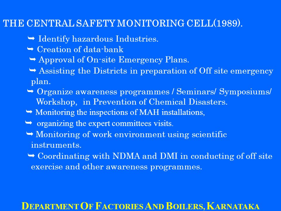 THE CENTRAL SAFETY MONITORING CELL(1989). Identify hazardous Industries.