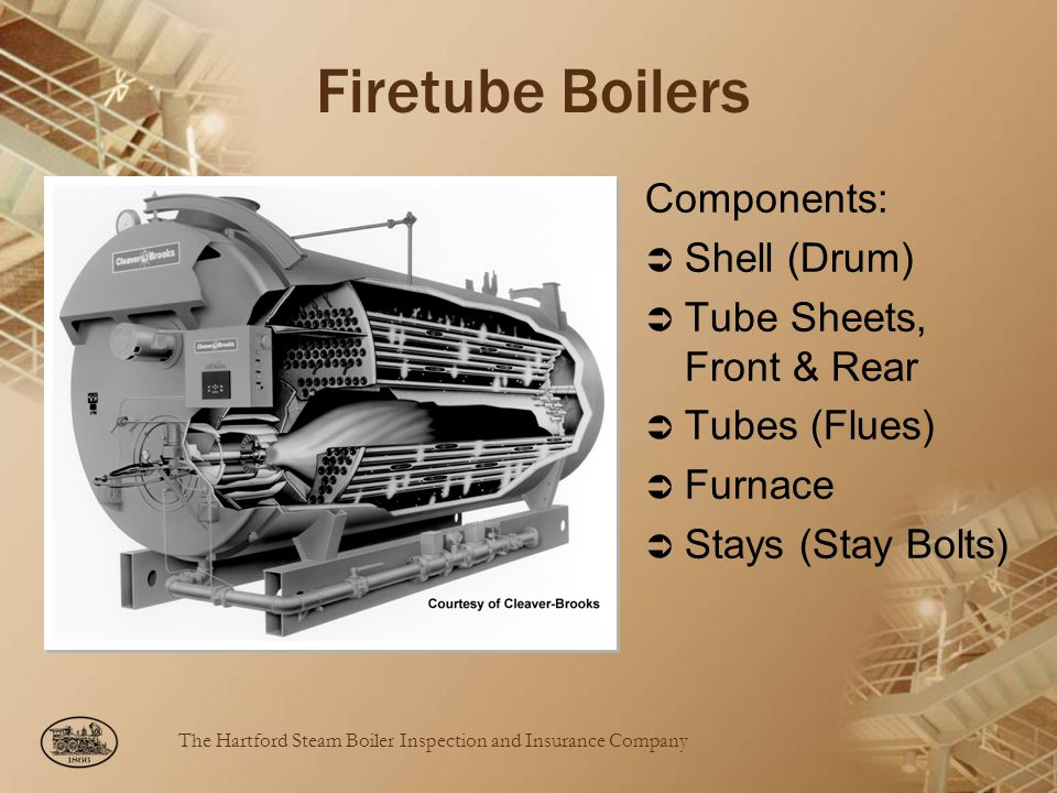 The Hartford Steam Boiler Inspection and Insurance Company Firetube Boilers Components: Shell (Drum) Tube Sheets, Front & Rear Tubes (Flues) Furnace Stays (Stay Bolts)