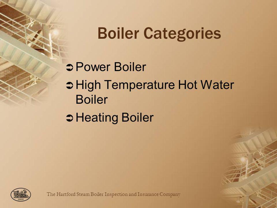 The Hartford Steam Boiler Inspection and Insurance Company Boiler Categories Power Boiler High Temperature Hot Water Boiler Heating Boiler