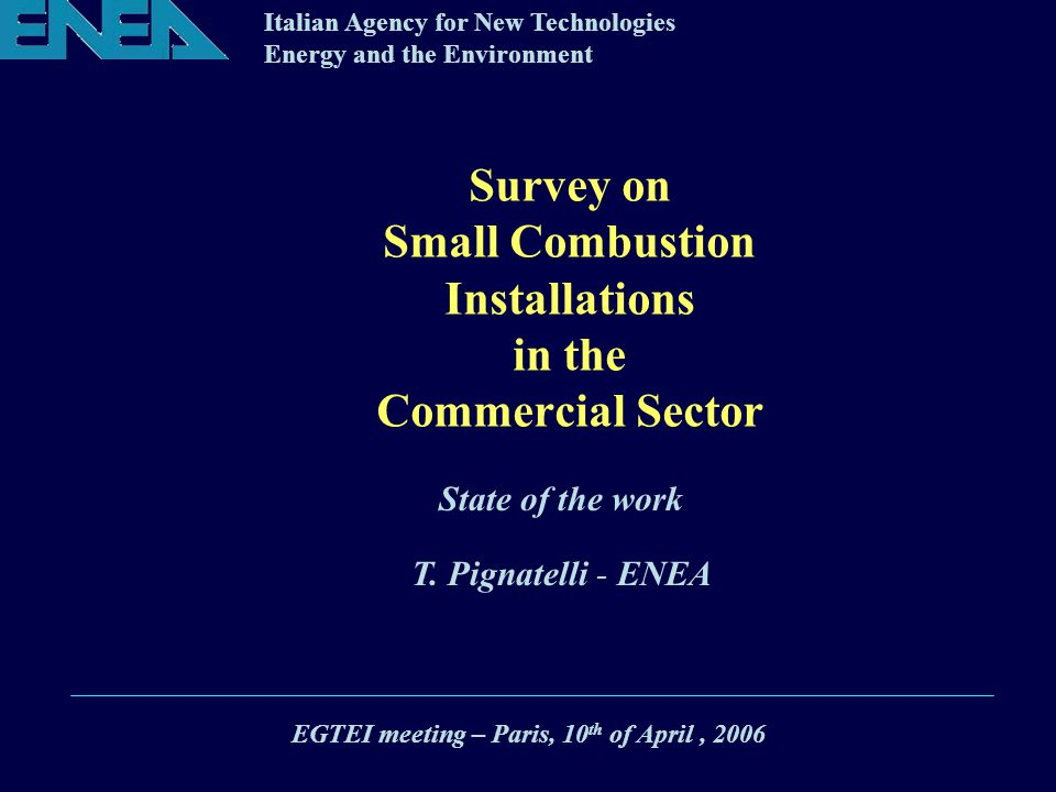 Italian Agency for New Technologies Energy and the Environment Survey on Small Combustion Installations in the Commercial Sector EGTEI meeting – Paris, 10 th of April, 2006 State of the work T.