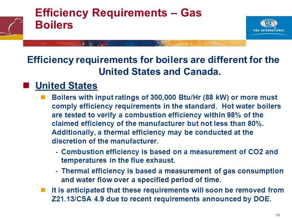 13 Efficiency Requirements – Gas Boilers Efficiency requirements for boilers are different for the United States and Canada. United States Boilers wit