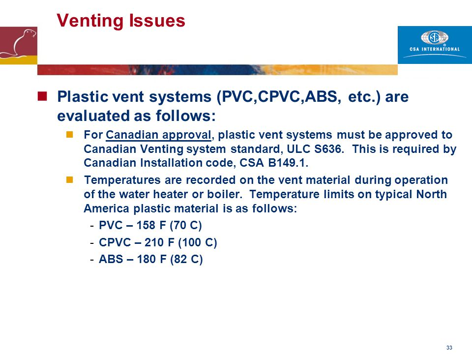 33 Venting Issues Plastic vent systems (PVC,CPVC,ABS, etc.) are evaluated as follows: For Canadian approval, plastic vent systems must be approved to