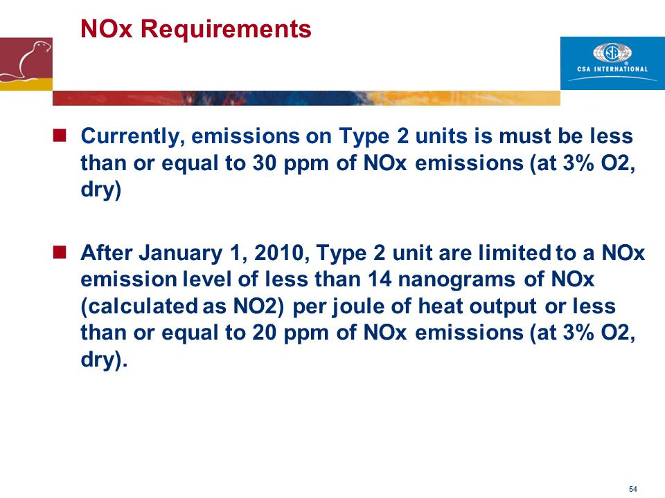 54 NOx Requirements Currently, emissions on Type 2 units is must be less than or equal to 30 ppm of NOx emissions (at 3% O2, dry) After January 1, 201
