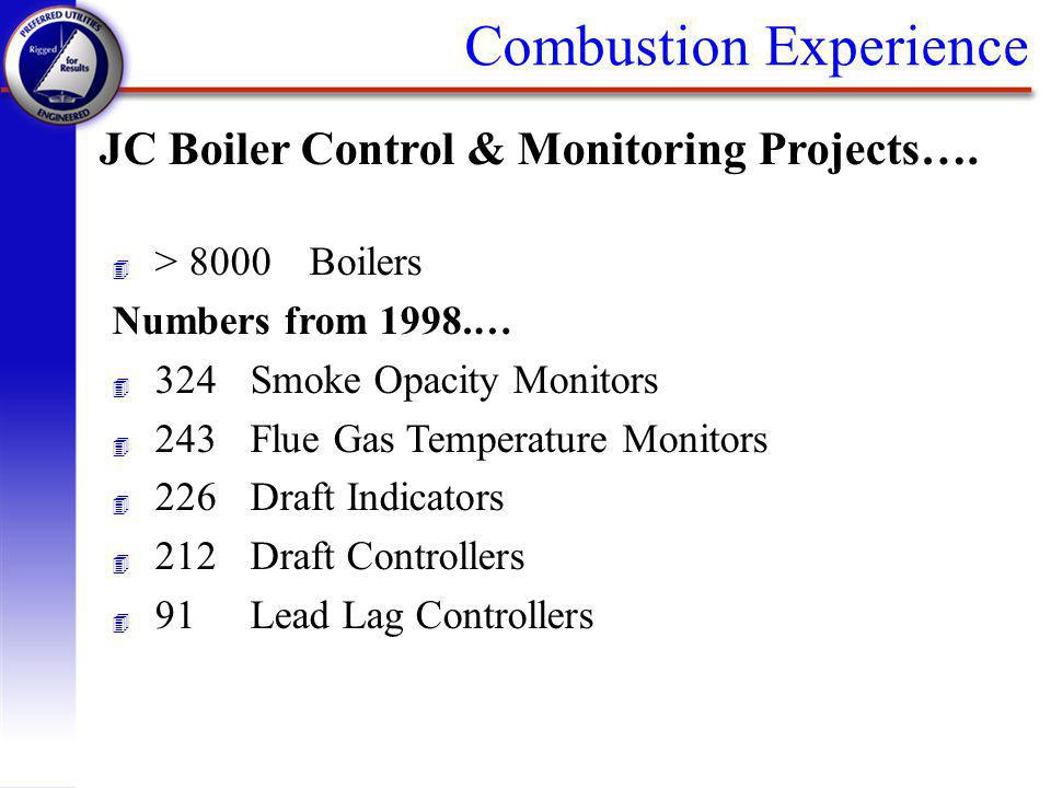 Combustion Experience JC Boiler Control & Monitoring Projects…. 4 > 8000Boilers Numbers from 1998.… 4 324Smoke Opacity Monitors 4 243Flue Gas Temperat