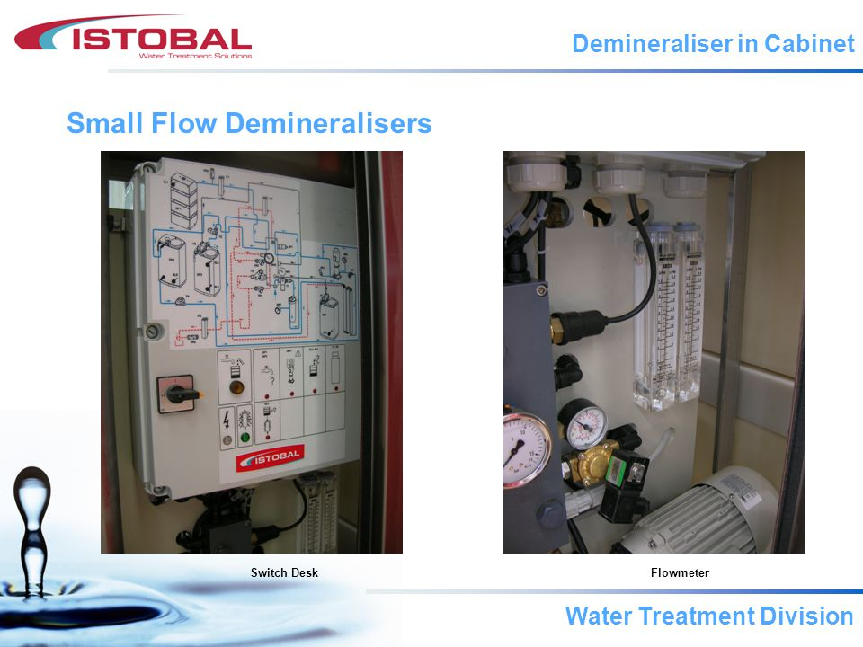 Water Treatment Division Small Flow Demineralisers Switch DeskFlowmeter Demineraliser in Cabinet