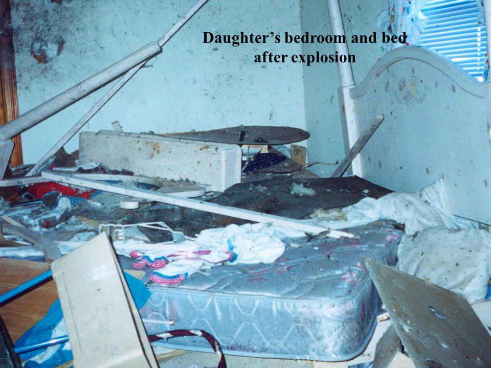 Daughters bedroom and bed after explosion