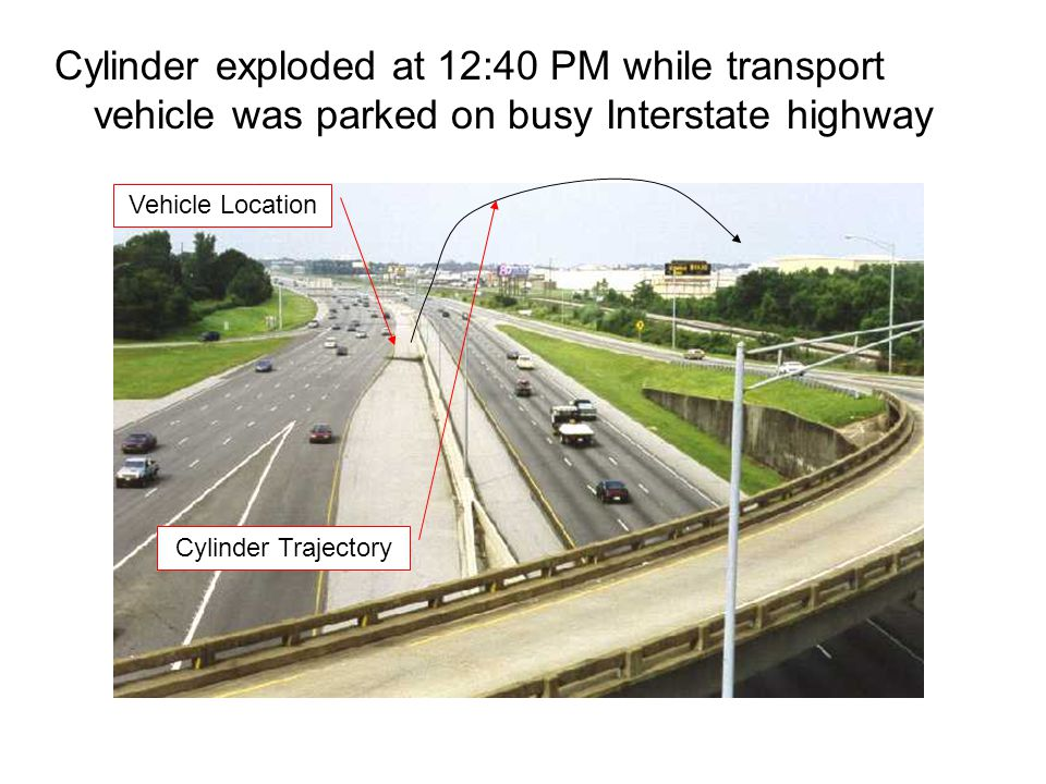 Cylinder exploded at 12:40 PM while transport vehicle was parked on busy Interstate highway Vehicle Location Cylinder Trajectory