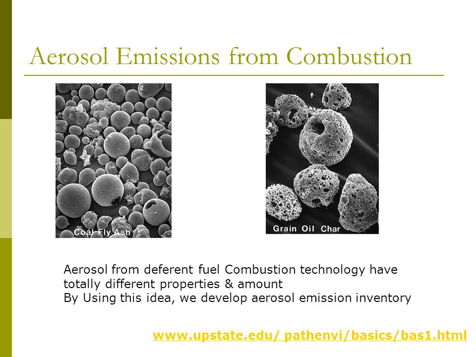 Aerosol Emissions from Combustion www.upstate.edu/ pathenvi/basics/bas1.html Aerosol from deferent fuel Combustion technology have totally different properties & amount By Using this idea, we develop aerosol emission inventory