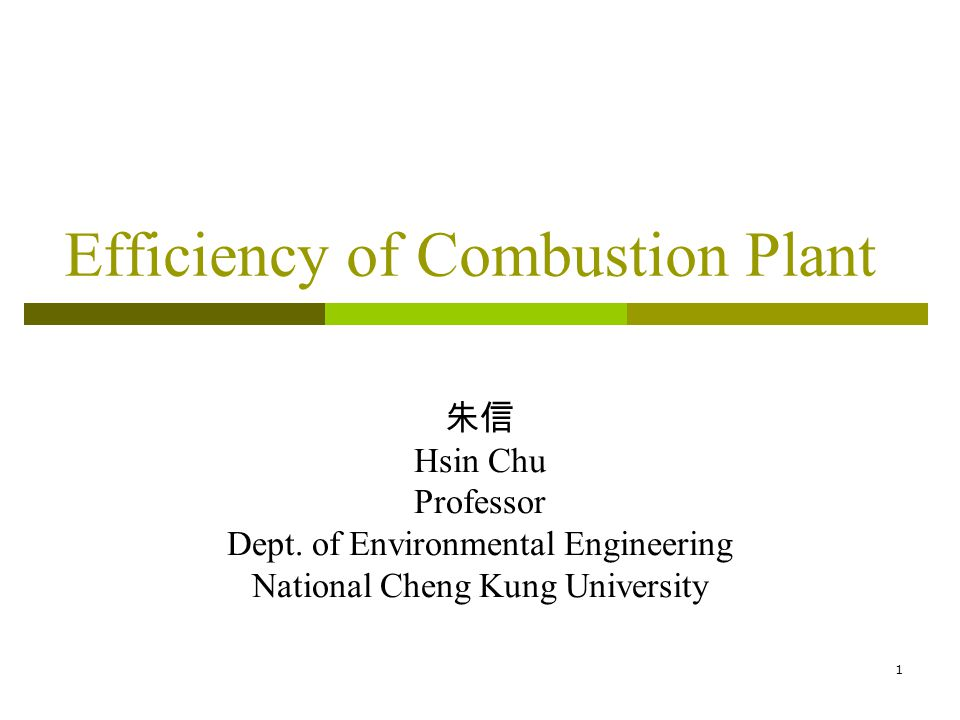 1 Efficiency of Combustion Plant Hsin Chu Professor Dept. of Environmental Engineering National Cheng Kung University