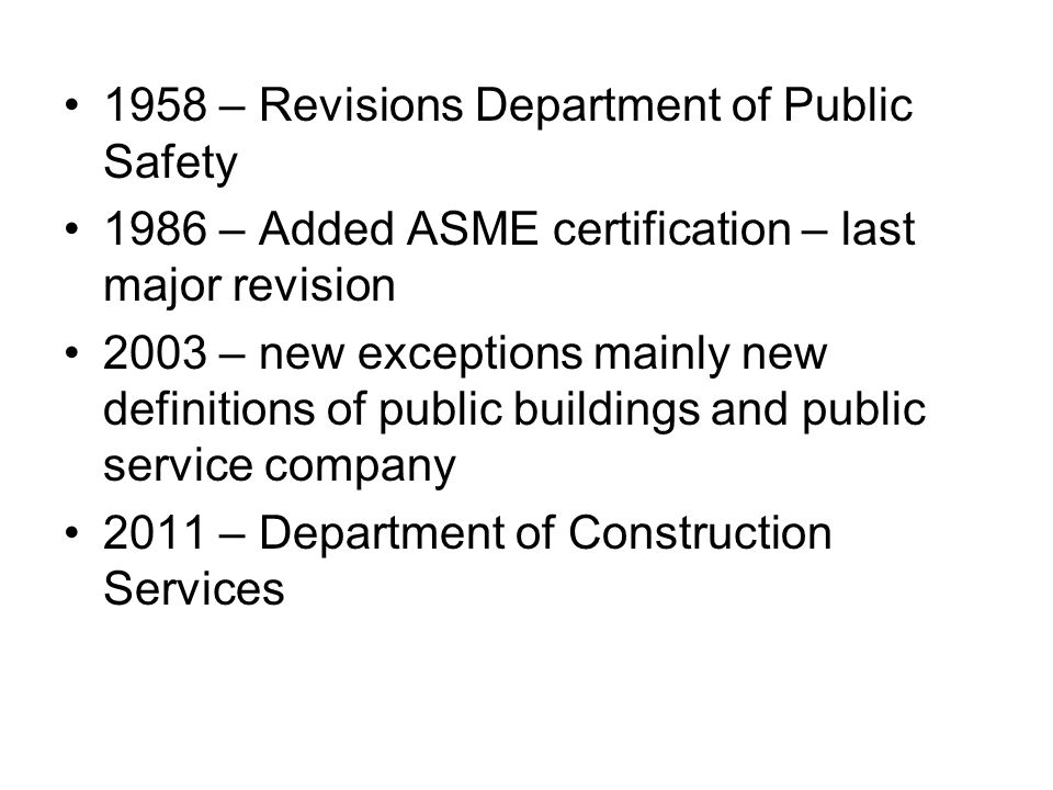 Present Day Department of Construction Services – Office of State Building Inspector All Steam and Hot Water Boilers not excluded Hot Water Heaters exceeding 200,000 Btus per hour Water Heaters < 200,000 Btus per hour located in schools, day care centers, public or private hospitals, nursing or boarding homes, churches or public buildings as defined in section 1-1