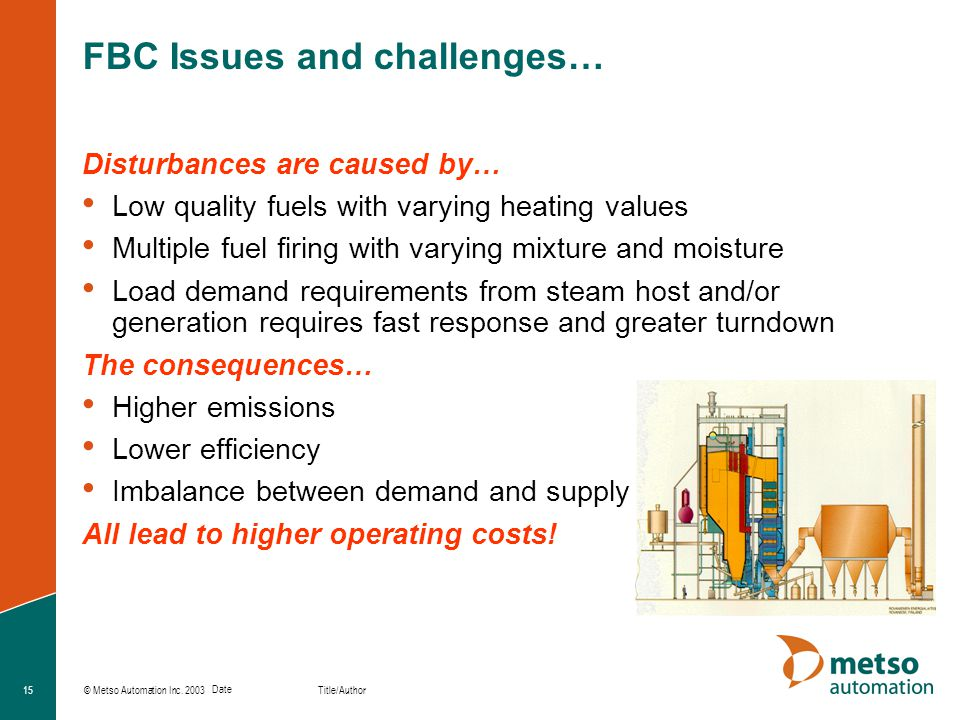 © Metso Automation Inc. 2003 Title/Author Date 15 FBC Issues and challenges… Disturbances are caused by… Low quality fuels with varying heating values