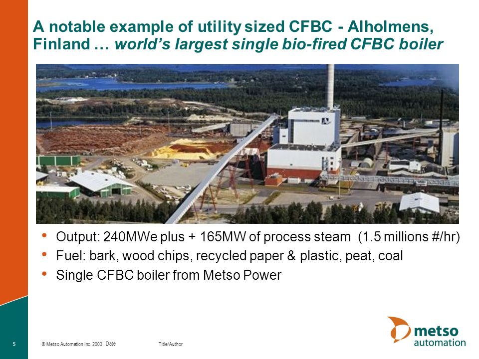 © Metso Automation Inc. 2003 Title/Author Date 5 A notable example of utility sized CFBC - Alholmens, Finland … worlds largest single bio-fired CFBC b