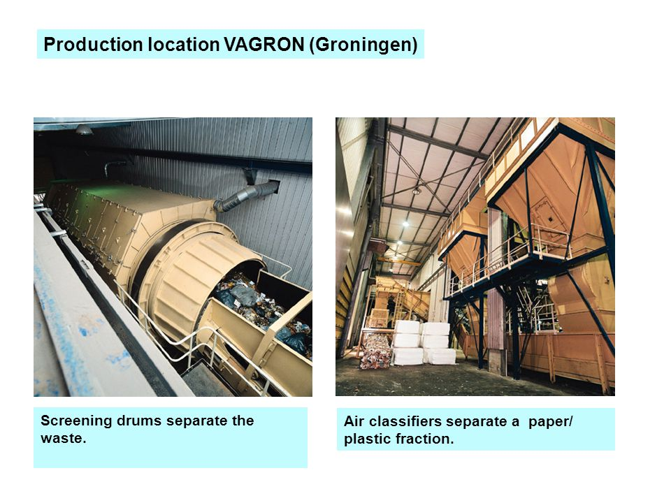 Screening drums separate the waste. Air classifiers separate a paper/ plastic fraction. Production location VAGRON (Groningen)